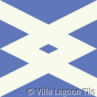 Blue and white cross tile