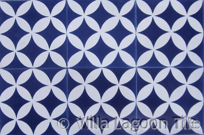 Petal Shaped Blue And White Tile Designs