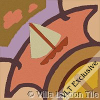 Sailboat on the water in red sky tile