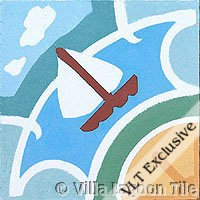 Sailboat tile in cement tile