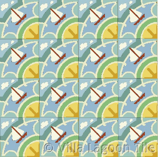sail boat beach house tile floor in cuban tile