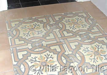 Venetian Taupe cement tile hall walkway
