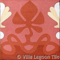 Antique border tile in terra cotta colors
