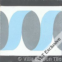 Ribbon Border Blue Frost Cement Tile