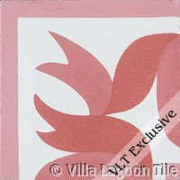 Ribbon Corner Tile in Coral