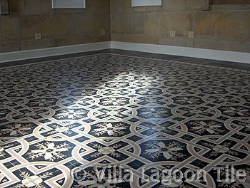 Black and White cement tile floors