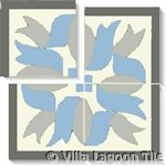 blue and grey ribbon tile