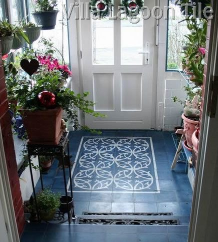 Deep blue and Ivory cement tile entranceway