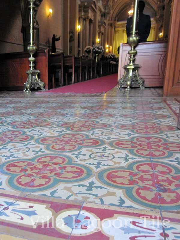 Antique Mexican cement tiles in a church