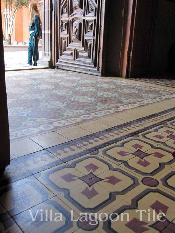 old cement tiles in Mexcican churches