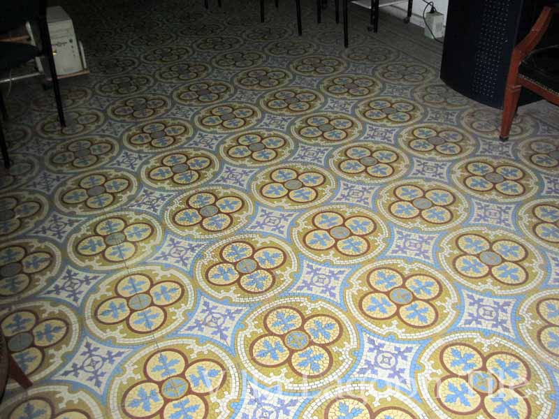 Antique Mexican tile floor in an office