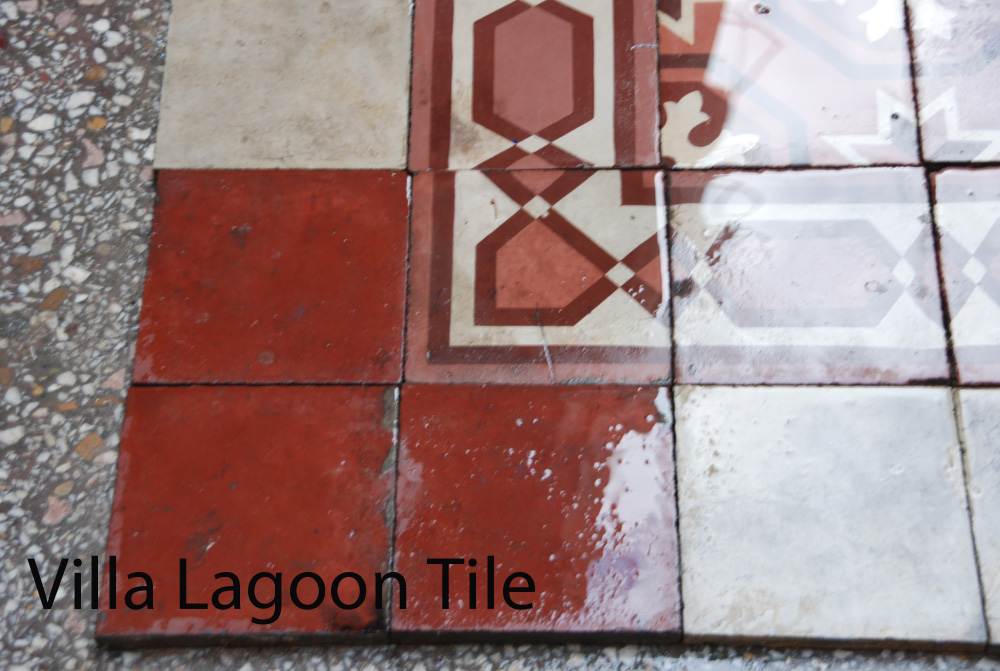 Close up of cleaned rescued salvage tile