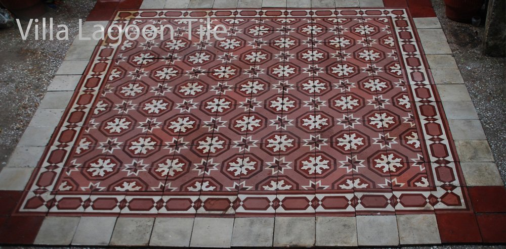 Red and white reclaimed antique tile