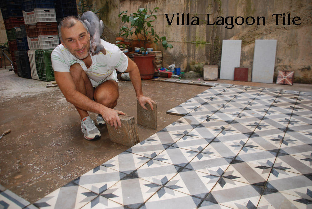 Russell Mikler in Greece with antique encaustic cement tile