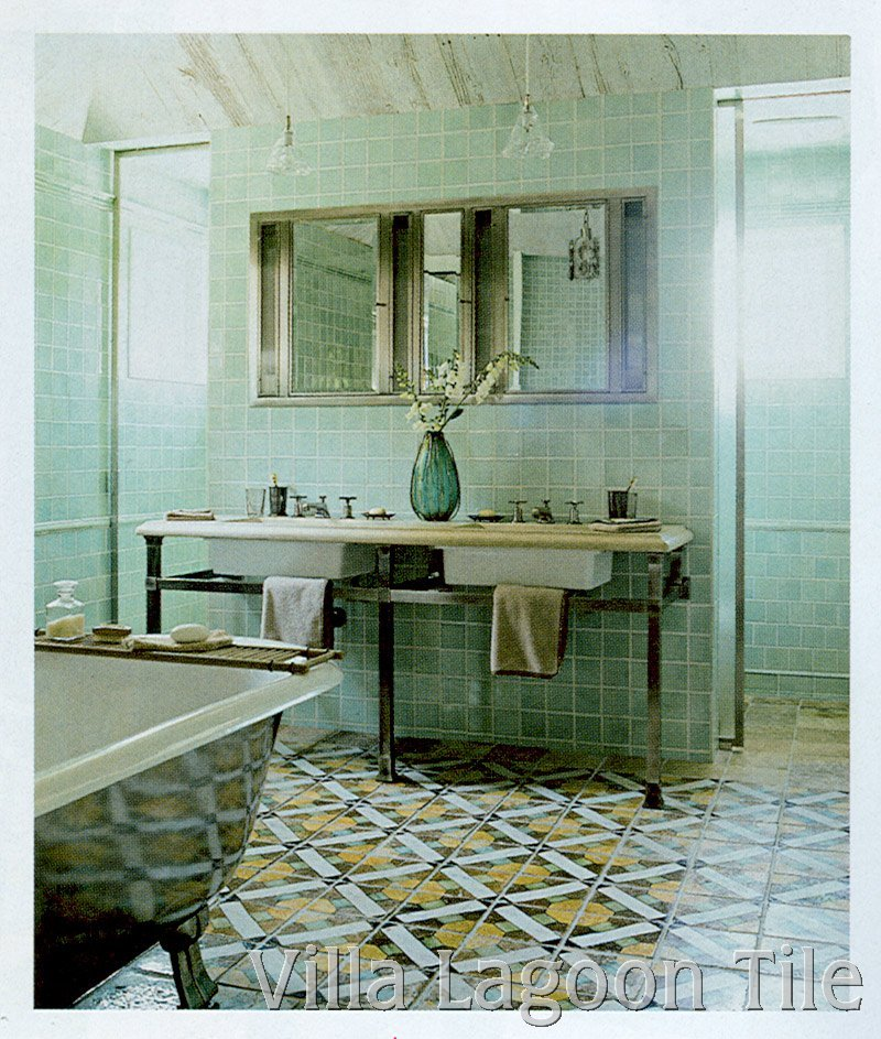 Italian Antique Tile Bathroom Floor. Click For Larger Image.
