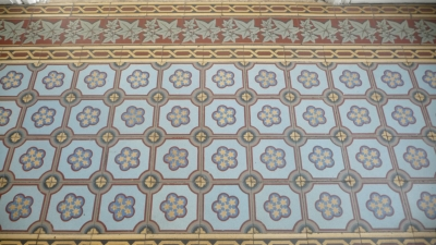 Antique French Tile With Elegant Flower Pattern Border Kitchen Floor
