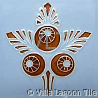 Art Deco Relief Tile Pale Blue Rust
