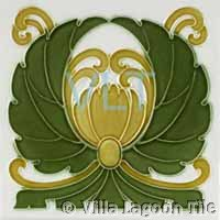 Art Deco Relief Tile Green Wings