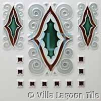 Historic Art Deco Relief Tile Red Green