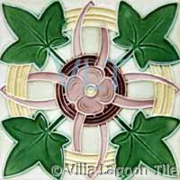 French Art Deco Relief Tile Green Pink Rust Leaf Flower