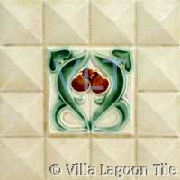 Belgium Art Deco Relief Tile Green Red Spade