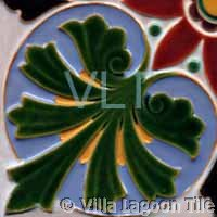 Art Deco Relief Tile Green Purple Yellow Plant