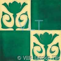 Art Deco Relief Tile Green Cream Flower