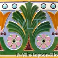 Art Deco Relief Tile Green Pink Purple Yellow Plant Flower