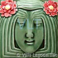 Art Deco Relief Tile Green Red Yellow Girl Face Flower Hair