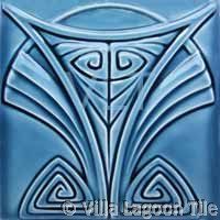 Art Deco Relief Tile Blue