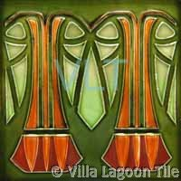 Art Deco Relief Tile Green Orange