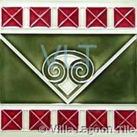 Art Deco Relief Tile Red Green Squares