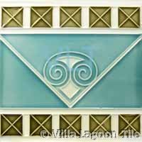 Art Deco Relief Tile Green Blue Squares