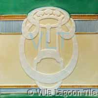Art Deco Relief Tile Green Blue Cream