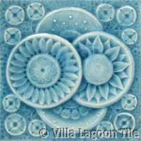 Art Deco Relief Tile Blue Flowers
