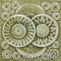Reproduction Art Deco Relief Tile Beige Flowers