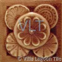 Art Deco Relief Tile Brown Flowers