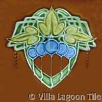Art Deco Relief Tile Green Blue Brown Leaves Balloons