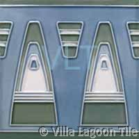 Art Deco Relief Tile Blue Green White