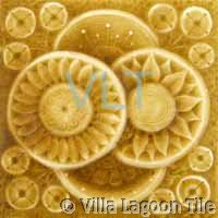 Yellow Art Deco Relief Tile Yellow Flower