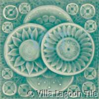 Abstract Art Deco Relief Tile Teal Flower