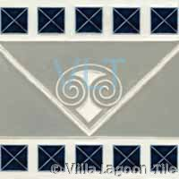 Geometric Art Deco Relief Tile Grey Blue Squares