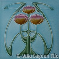art nouveau ceramic tile