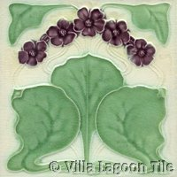 purple violets art nouveau tile