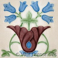 flower basket art nouveau tile
