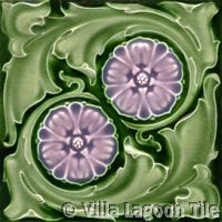 green and purple flower art nouveau tile