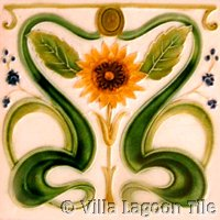 Sunflower Art Nouveau Tile