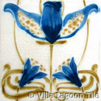 Bluebell flower Art Nouveau Tile