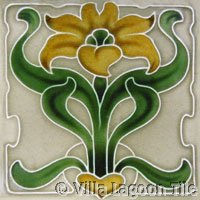 Yellow Lily Art Nouveau Tile
