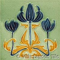 Dark Blue tulip Art Nouveau Tile